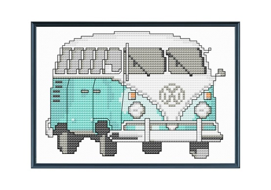 Teal Vintage VW Bus Modern Cross Stitch Pattern by tinymodernist.