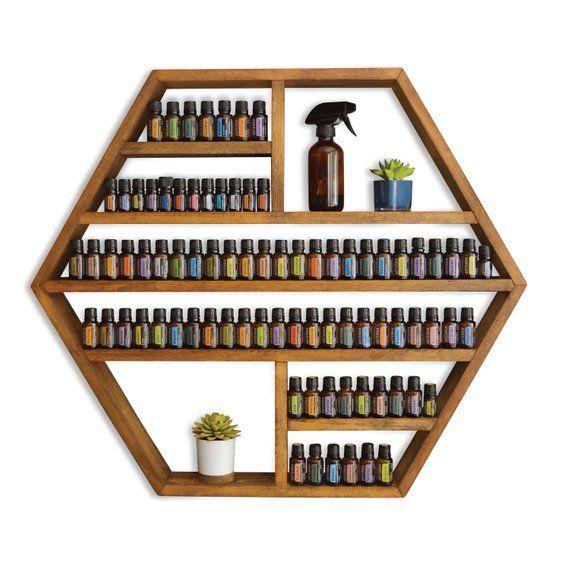 The Blue Ridge – XL Hexagon Essential Oil / Spice / Nail Polish Shelf / Storage – Easy home decor