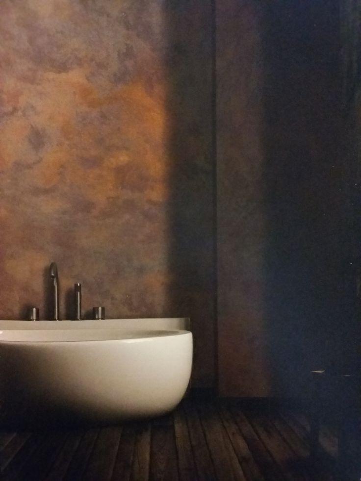 oxydecor... parete effetto ruggine! Bath room!
