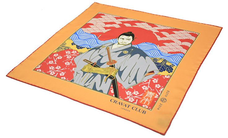 MUSASHI Printed Silk Pocket Square  #samurai #musashi #mifune #ukiyoe #woodblock #print #japanese #japan #pocketsquare #pocketsquares #pocket #square #silk #square #madeinengland #british #buybritish #silkpocketsquare #handkerchief #menswear #mens #accessories #mensfashion #fashion