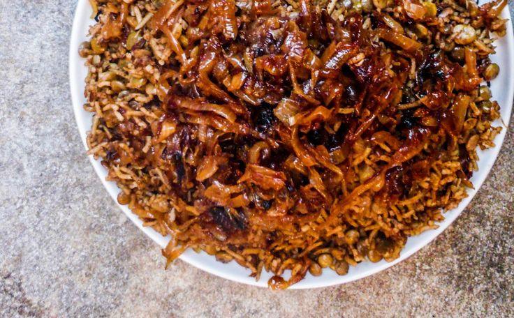 Mujadarrah (Krydret ris med grønne linser og løk)
