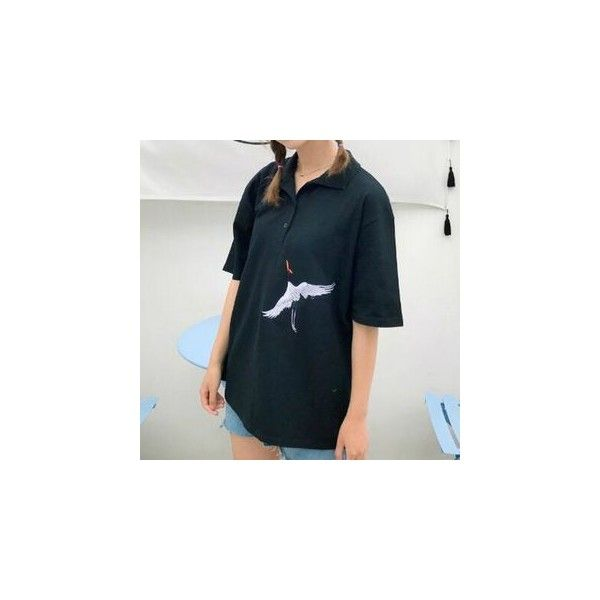Elbow Sleeve Crane Embroidered Polo Shirt ($15) ❤ liked on Polyvore featuring tops, shirts, women, elbow length sleeve shirts, shirt top, blue polo shirts, embroidery top and embroidered shirts