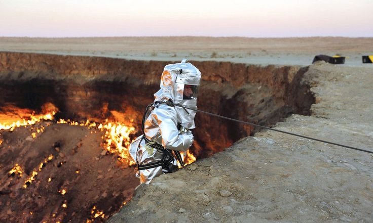 "Forty years ago, a vast molten cavity known as the Darvaza crater – nicknamed the ""door to hell"" – opened up in the desert of north Turkmenistan, and has been burning ever since. Now, Canadian explorer George Kourounis has become the first to make the descent into the fiery pit to look for signs of life"