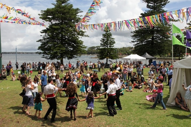 An image of the main audience area at Carrs Park, Kogarah from the 2012 Australia Day celebrations. The event is in a relatively similar format as it was in 2003 and 2004