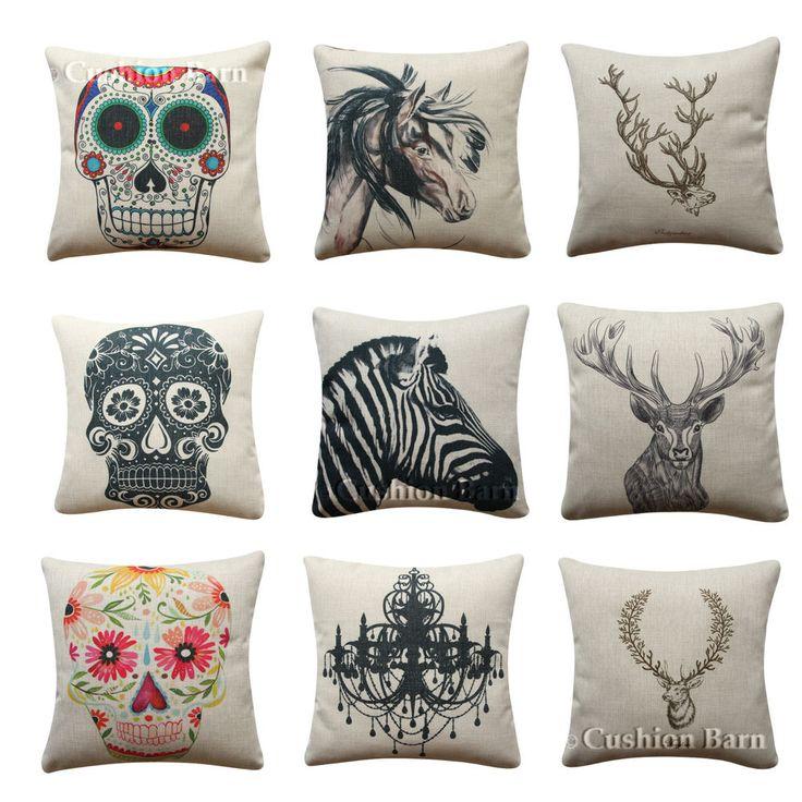 Skull Bohemian Deer Head Horse Deer Antler Scandi Cushion Cover Pillow Cover