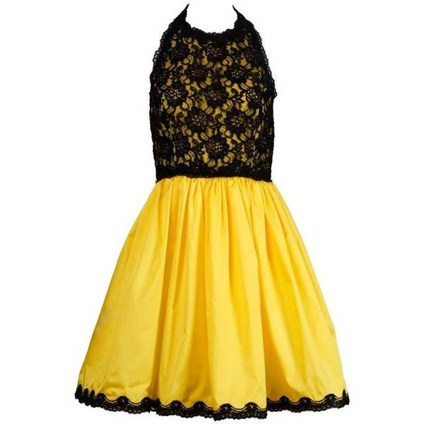 Preowned Unworn With Tags Bill Blass Vintage Yellow + Black Lace... ($450) ❤ liked on Polyvore featuring dresses, yellow, yellow vintage dress, vintage dresses, lace dress, yellow skater skirt and halter dress