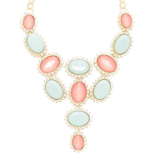 R.J. Graziano Coral & Mint Bib Necklace ($30) ❤ liked on Polyvore featuring jewelry, necklaces, accessories, colares, jewels, multi, bib necklace, long bib necklace, jewel necklace and r.j. graziano jewelry