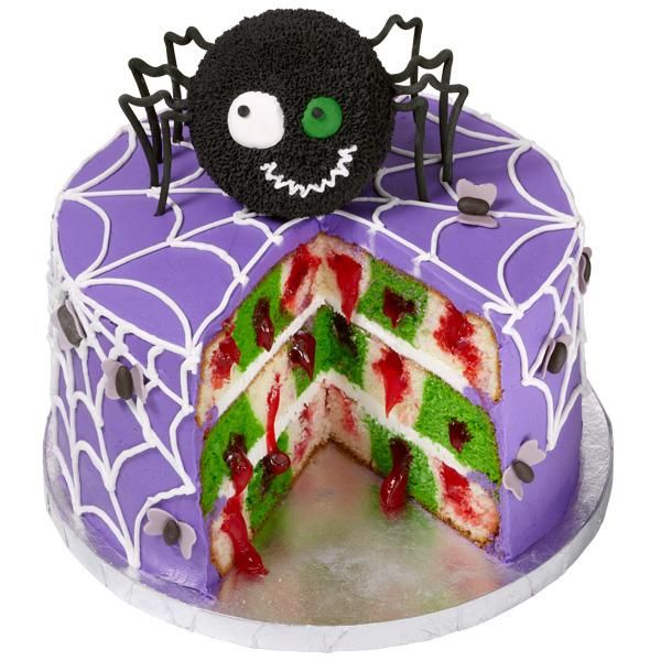 """""""Welcome to the Web"""" Checkerboard Cake - Halloween Treat - When you slice the cake open, you get a surprise—a bloody checkerboard pattern! - Need the Wilton Checkerboard Cake Pan Set"""