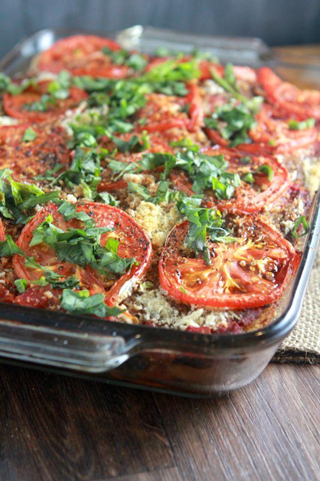 Rustic bread lasagna--12 Non-Dairy Lasagnas That Taste Spectacular via Brit + Co.