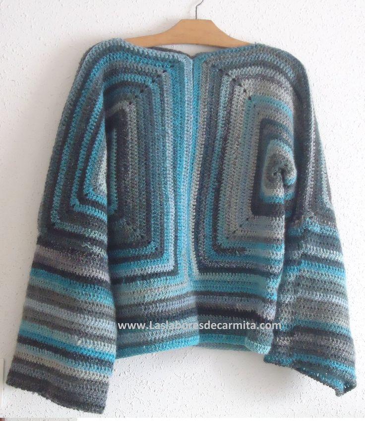 Me he pasado unos ratos entretenidos perdida entre lanas y ovillos y al final ha resultado esta preciosa chaqueta o jersey tejido a crochet o ganchillo100% l...
