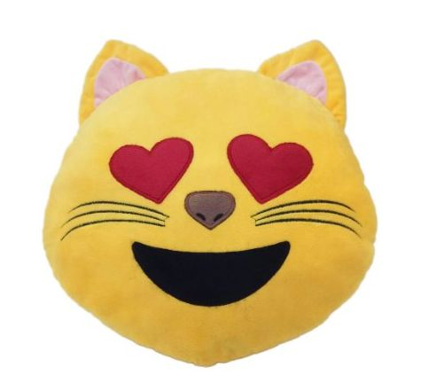Adorable Emoji Pillow: Cat with Heart Eyes! (More emojis shown as well...)