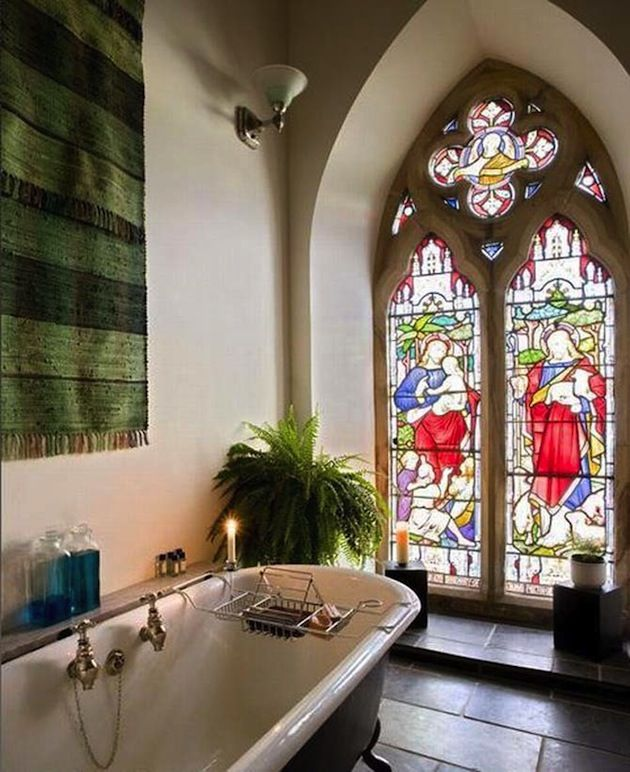Beautiful Bathroom With A Claw Foot Tub In Home That Is Converted Church