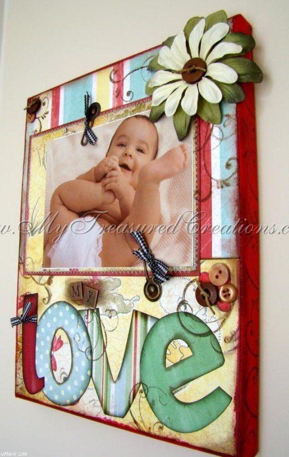 MY LOVE   Vintage Altered Canvas Nursery by TreasuringMemories
