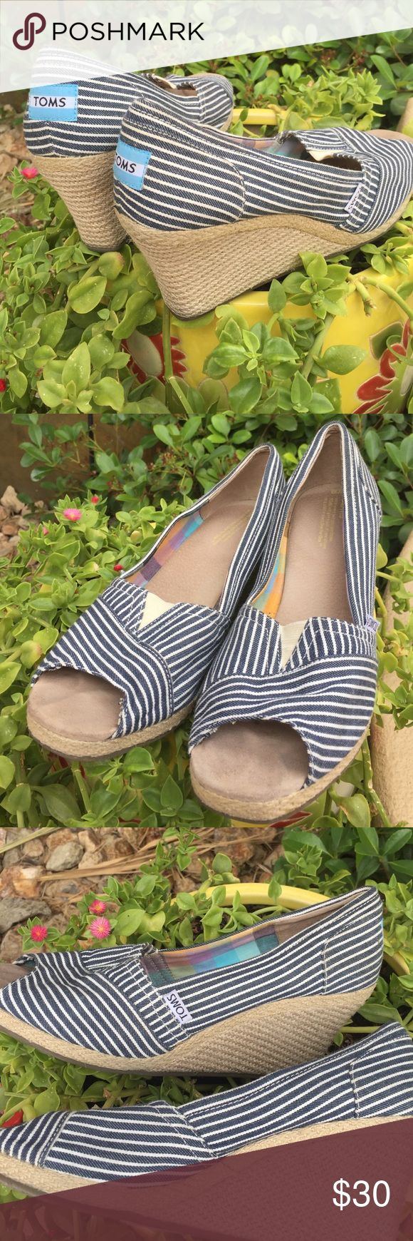 TOMS wedges Toms...Navy & White  stripe Wedges...Size 10 TOMS Shoes Wedges