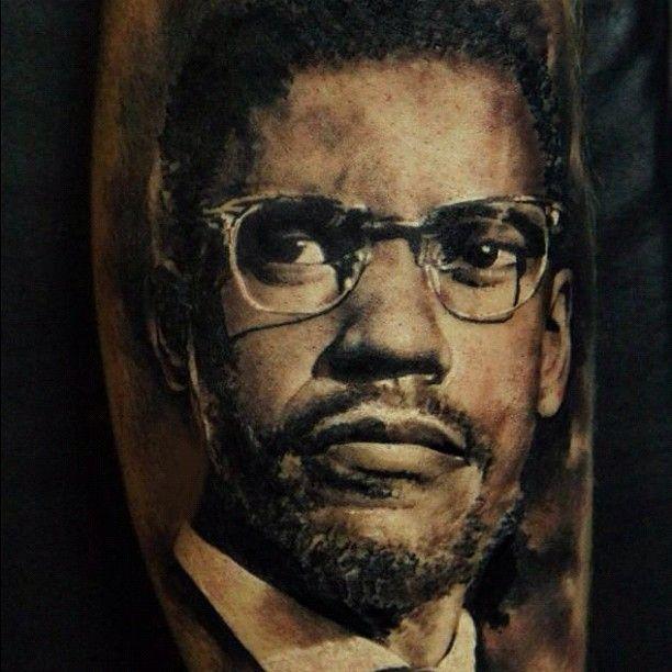 Denzel washington as malcolm x portrait tattoo by for Malcolm x tattoo