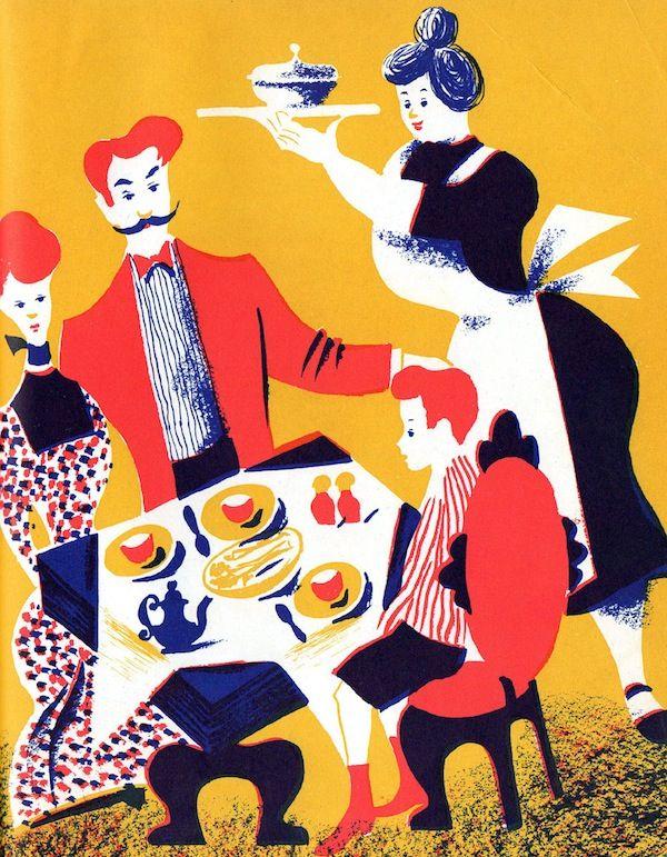 Leonard Weisgard.: Colour, Tea Time, Style, Food Ilustration, Book Illustrations, Children Illustration, Food Art