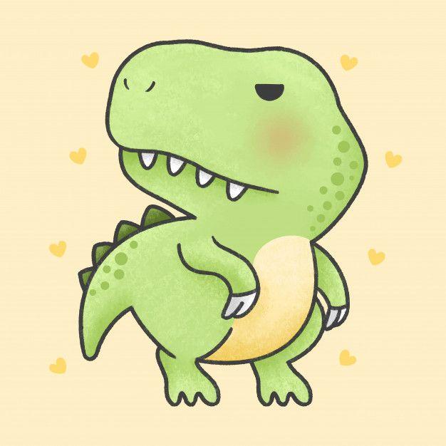 Cute T Rex Dinosaur Cartoon Hand Drawn Style Cute T Rex Cute Cartoon Drawings T Rex Cartoon