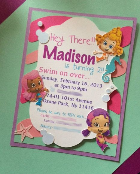Bubble Guppies Invitations by CraftedwLovebyCarliz on Etsy