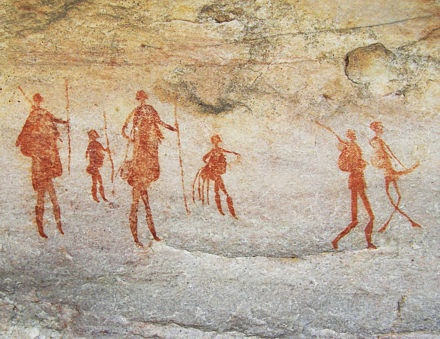 Rock Art of the Western Cape, Africa. Use of smaller figures to create sense of perspective.
