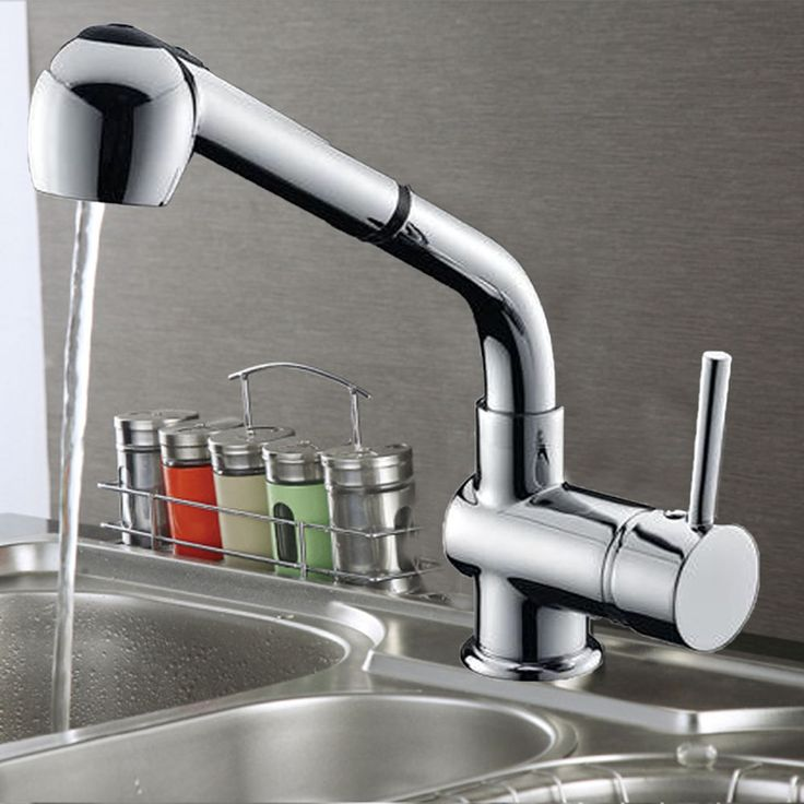 Pull out shower spray spout kitchen basin mixer tap laundry sink faucet Brass
