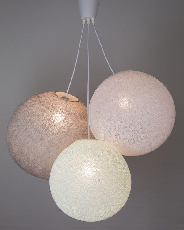Light aqua white stone pendant lamp cotton