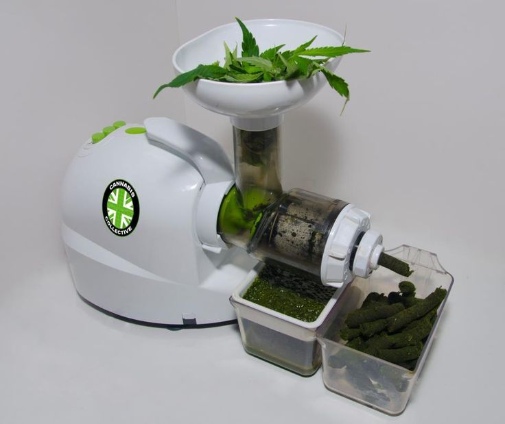 Juice extractor processing marijuana leafs this is great article !