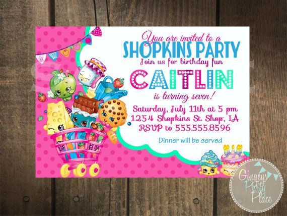129 best invites images on pinterest birthdays birthday parties shopkins inspired invitation by gingeyspartyplace on etsy stopboris Images