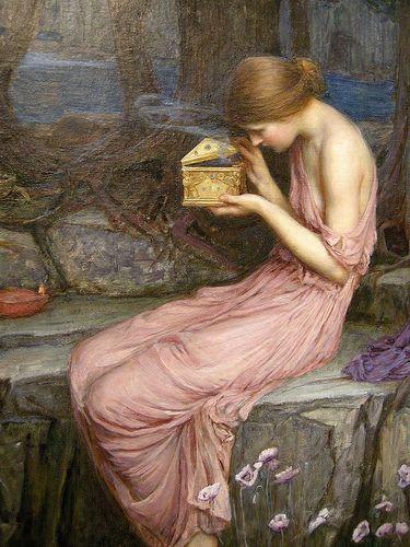 Psyche opening the golden box - J.W. Waterhouse˛ • ° ˛˚˛ *•。★˚ Opening Pandora's box :-) #PANDORAsummercontest