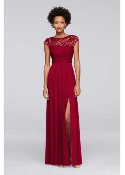 Long Bridesmaid Dress with Lace Bodice F19328 - comes in plum and lapis