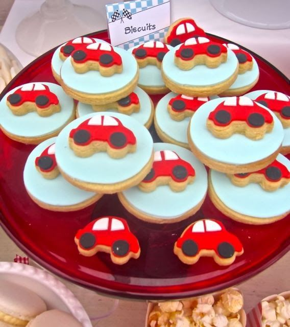 Little Big Company | The Blog: Little Red Racing Car Themed birthday by The Iced Biscuit
