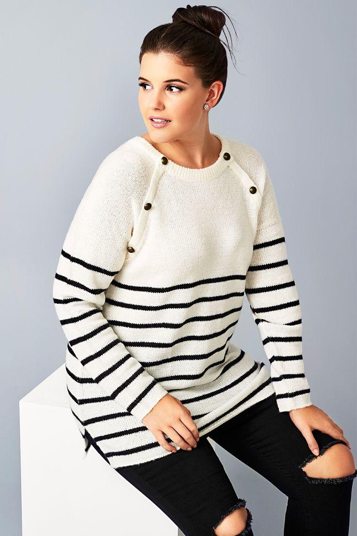 Cream & Black Stripe Knit Jumper With Bronze Buttons