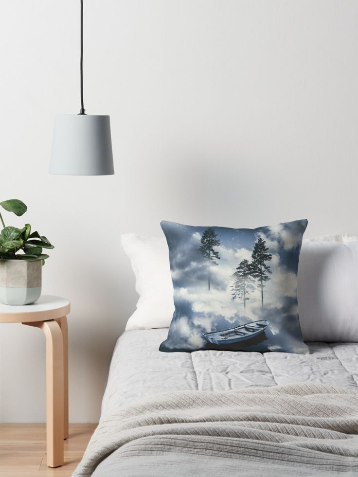'Forest sailing' Throw Pillow by HappyMelvin. #surreal #nature #homedecor #pillows