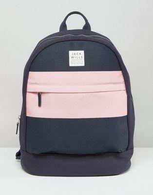 Jack Wills Navy & Pink Minimal Backpack