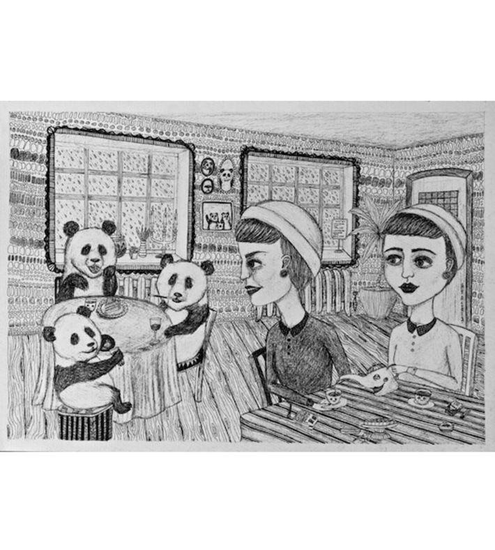 """""""På Caféen"""" 2013. Original illustraion by ANJA VILLUMSEN OXAGER on watercolour paper. Size: A3 You can buy this original piece at www.artrebels.com #artrebels #art #originals"""