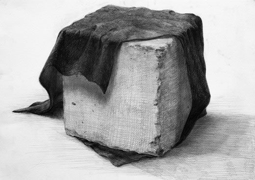 デッサン「コンクリート立方体と想定の布」/B3サイズ