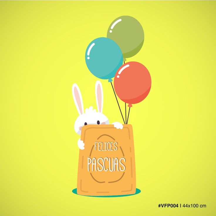 Vinilos para Vidrieras – Conejo con bolsa y globos – Felices Pascuas. Medida 44×100 cm MOD #VFP004 Personalizá el color a tu gusto!