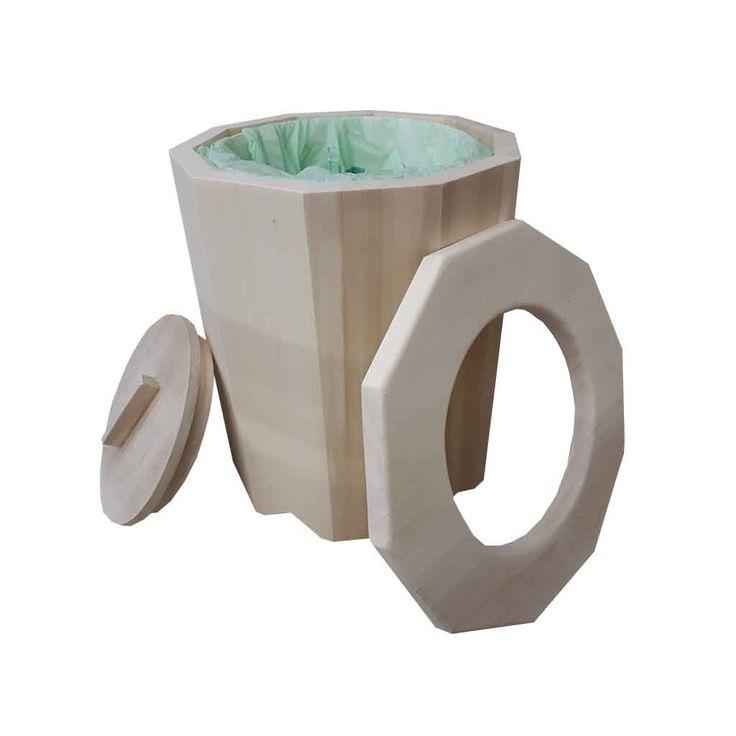 Toilette sèche camping. livrée complète avec pelle à sciure, porte papier, seau plastique alimentaire de 32 litres, un rouleaux de 10 sacs compostables.