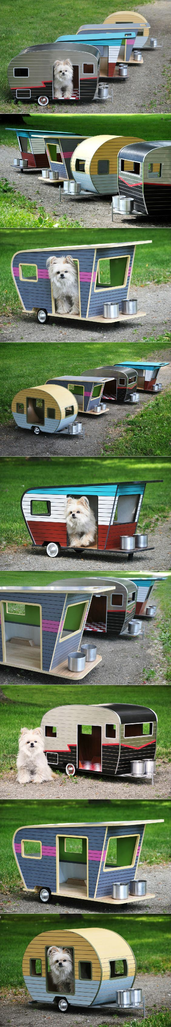 Cool Dog House Upgrade: Instantly-Endearing Pet Trailer Designs. Unique dog-sized trailers made from environmentally-friendly materials, including recyclable aluminum, plywood and plastic. Pet trailer can even have a lighted interior, wireless speakers, and an adorable personalized license plate.: