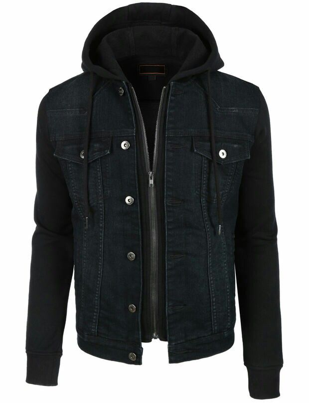 Black Hooded Denim Vest Jacket Denim Jacket Men Men S Coats And Jackets Hoodies