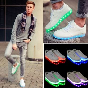 Unisex Fashion USB Charging LED Light Luminous Shoes Lace-Up Sportswear Sneakers Casual Shoes