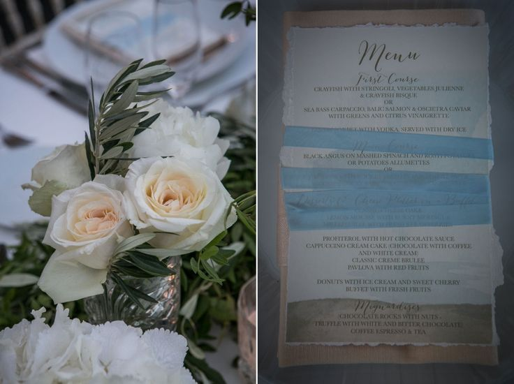 Romantic Bouquet with white roses and olive brunches! The menu is wrapped with a baby blue ribbon!