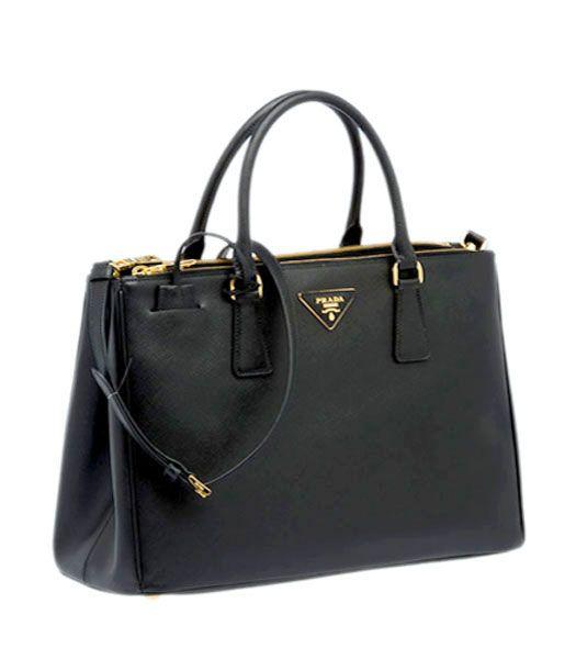 Prada Saffiano Black Calfskin Leather Tote Small Bag (Lucy Watson)