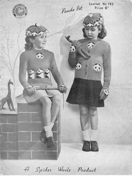 vintage girls pand beret and cardigan knitting pattern 1940s