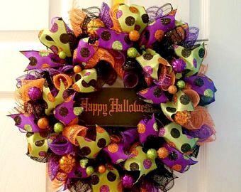 Guirnalda de Halloween | Feliz Halloween | Decoración de Halloween | Guirnalda de otoño | Decoración de Halloween | Guirnalda de puerta | Guirnalda de la caprichosa | Otoño