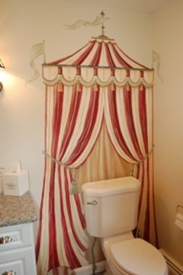 Circus tent bathroom wall hand painted mural by MacMurray Designs