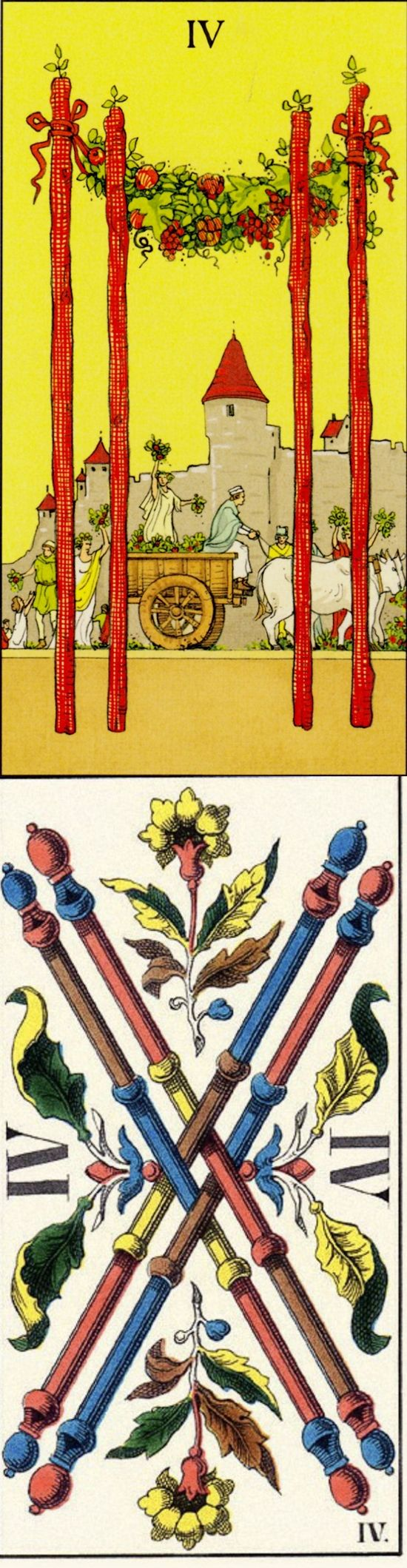 Four of Wands: homecoming and discord (reverse). After Tarot Tarot deck and JJ Swiss Tarot deck: tarotguidebook, tarot reading meaning and yes or no tarot accurate. New guessing booth and tarot. #witch #chariot #paganism #halloween