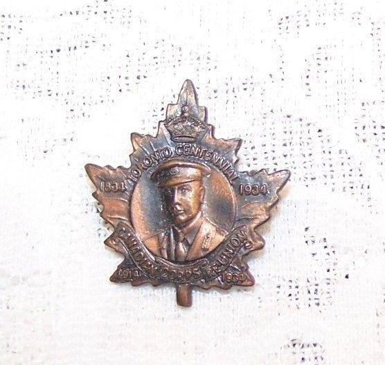 CANADIAN WW1 1914-34 Canadian Corps Reunion Toronto Centennial Brooch Badge pin