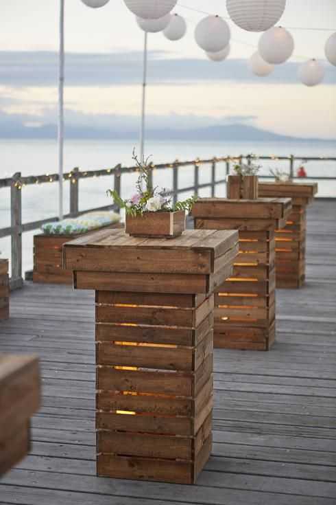 Can hire these from Ward Benedict - really like them. Perhaps setup at the back end, to make an area for serving of champagne and canapés as the sun sets. Maybe hire 3? Also with 2 pallet bench seats? Tom thinks he and some fellas at the wedding can move them after dark/dinner inside for around the dance floor, as be good for them to be in there once we are. Can't afford to hire some for inside and out sadly so need to reuse. Thinking brass vases on these - hoping a cool contrast in…