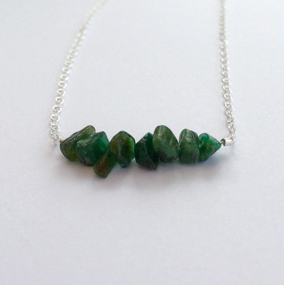 Emerald necklace May birthstone jewellery gift for her by Chalso