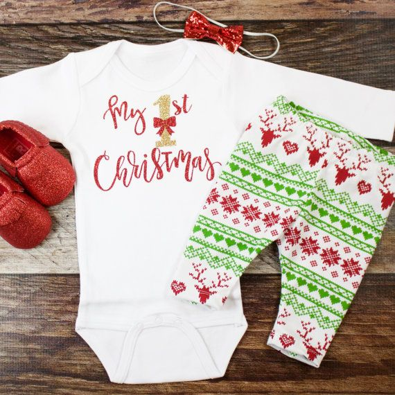 """Girls Christmas Legging Outfit 